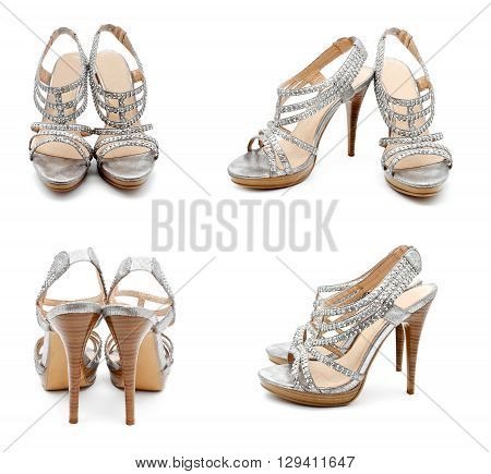 Collection of photos silver high heel women shoe isolated on white a background