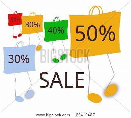 Five walking shopping bags with discounts in the range of 30 to 50%. In the lower bottom area is the capitalized word