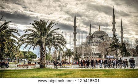 Istanbul, Turkey - February 9, 2013: Blue Mosque (Sultanahmet Cami) in Sultanahmet, Istanbul, Turkey
