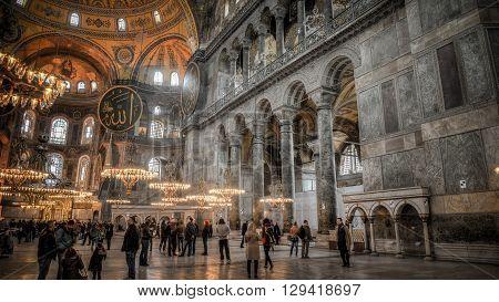 Istanbul, Turkey - 11 February, 2013: Interior scene from Hagia Sophia (Ayasofya), historic centre of Istanbul UNESCO World Heritage List, 1985, Turkey, 6th century.