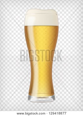 Realistic beer glass. Mug with light beer and bubbles. Graphic design element for a brewery ad, beer garden poster, flyers and printables. Transparent vector illustration.