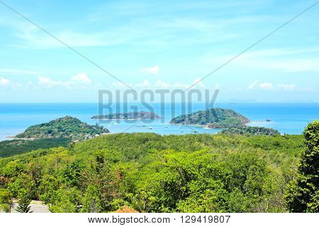 High angle view sea sky and seaside tourist town of Ao Chalong bay from Khao-Khad mountain viewpoint famous attractions in Phuket island Thailand