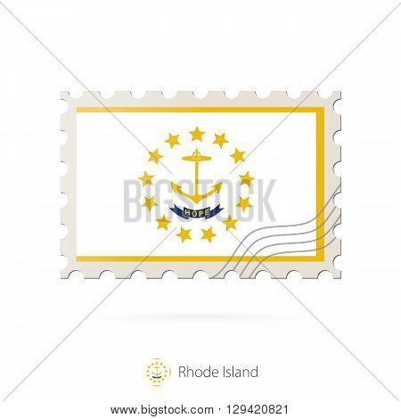 Postage Stamp With The Image Of Rhode Island State Flag.
