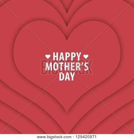 Happy mothers day card vintage retro type font. Happy mothers day with red heart background. All in a single layer. Vector illustration. Elements for design.