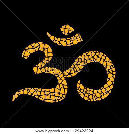 Mosaic vector Om sign. Om on black background. Om mosaic icon. Om symbol. Om design element for eastern culture.
