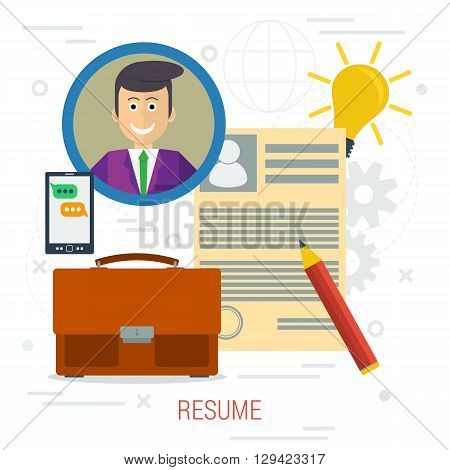 Vector concept of resume writing. Man icon with resume paper, business bag and smartphone in flat style on white background