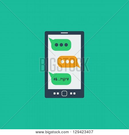Vector illustration smart phone with colored messages bubble on the screen. Concept online aggression and dangerous social networking in flat style