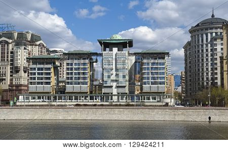 MOSCOW, RUSSIA - APRIL 24, 2016: View of the of the Embassy of the United Kingdom in Moscow Smolenskaya Naberezhnaya 10 located on the banks of the Moscow River