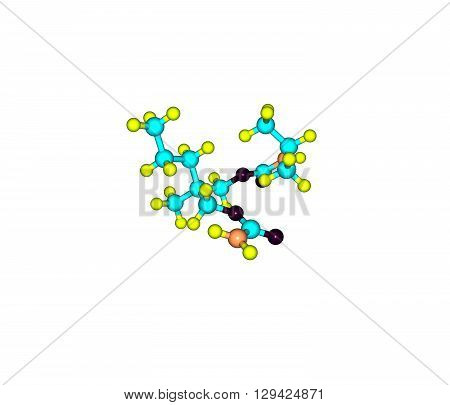 Carisoprodol is a centrally acting skeletal muscle relaxant. It is slightly soluble in water and freely soluble in alcohol chloroform and acetone. 3d illustration
