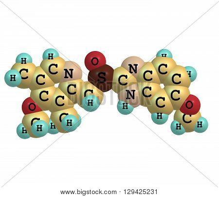 Esomeprazole is a proton pump inhibitor which reduces stomach acid secretion. 3d illustration
