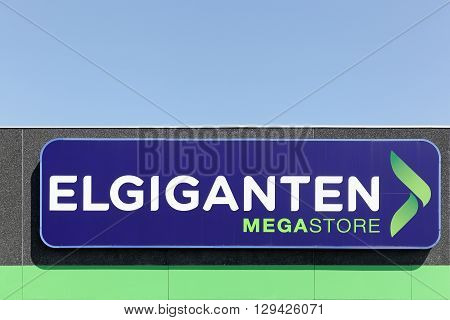 Aalborg, Denmark - May 8, 2016: Elgiganten logo on wall. Elgiganten is an electrical retailer located in Finland, Denmark, Norway and Sweden