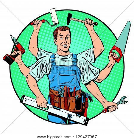 multi-armed master repair professional pop art retro style. Industry repair and construction. Man with tools in his hands.
