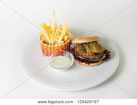 French fries and hamburger on a white plate