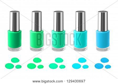 Nail polishes set isolated on white. Drop samples.
