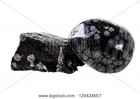 Obsidian Stones On White
