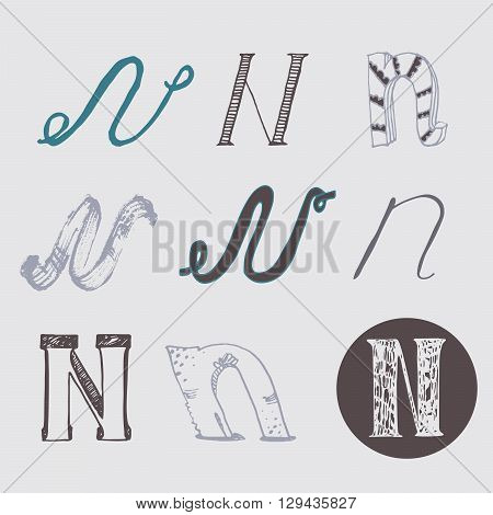 Original letters N set isolated on light gray background. Alphabet symbols editable hand drawn creative in different variations Italic 3d freehand drawn with brush and nib vector Illustration