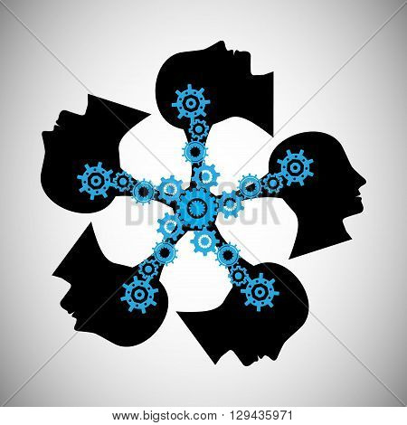 Concept of brainstorming this vector also represents knowledge sharing and transfer teamwork people communication unity community people influencing skills