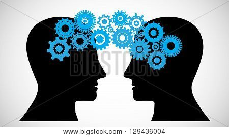 Concept of Brain storming Knowledge sharing between to people head this was shown through cogwheels transferring from one human brain to other this also represents creative mind innovation