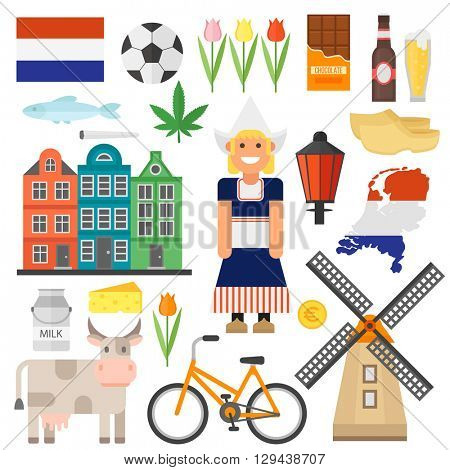 Netherland flat icons design travel concept vector set. Netherlands symbols travel set and europe culture Netherlands. Netherlands dutch travel europe building culture architecture landmark.
