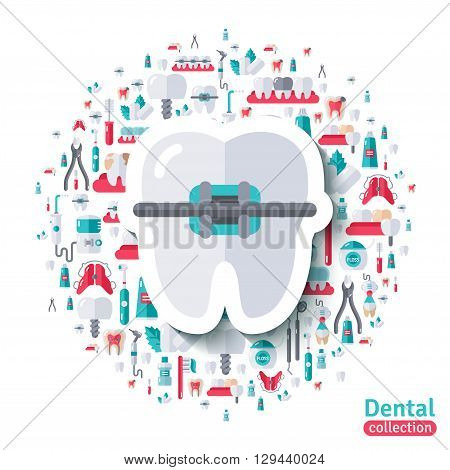 Flat Tooth in Braces Sticker Icon. Vector illustration. Teeth Care, Orthodontics and Dentistry symbols.