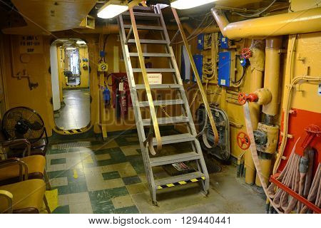KEY WEST, FL, USA - DEC 20: Cabin of USCGC Ingham (WHEC-35) on Dec 20, 2012 in Key West, Florida, USA. Ingham, a decommissioned United States Coast Guard Cutter, was originally served in Navy in WWII.