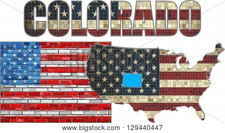 USA state of Colorado on a brick wall - Illustration,