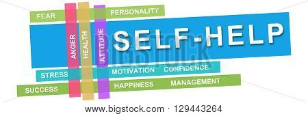 Self help concept image with text and related wordcloud.