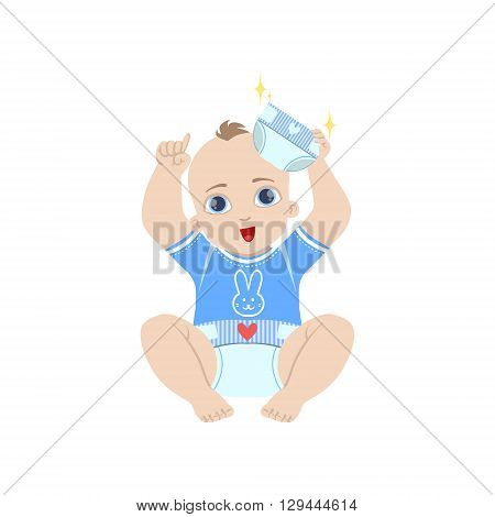 Baby In Blue Holding Fresh Nappy Flat Simple Cute Style Cartoon Design Vector Illustration Isolated On White Background