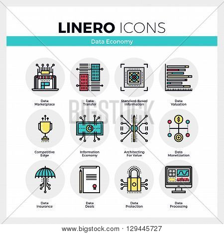 Data Economy Linero Icons Set