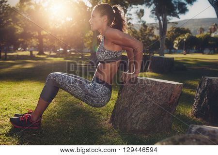 Muscular Woman Practicing Push Ups In A Park