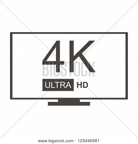 Vector monochrome 4K Ultra HD TV icon isolated on white background.