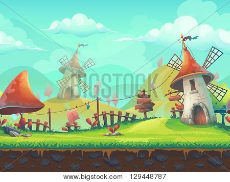 Seamless cartoon stylized vector illustration on the theme of the European landscape with a windmill. For print create videos or web graphic design user interface card poster.