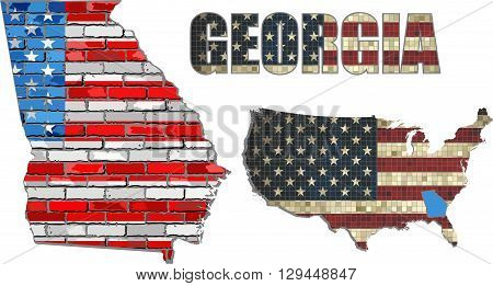 USA state of Georgia on a brick wall - Illustration, The flag of the state of Georgia on brick textured background,  Georgia Flag painted on brick wall, Font with the United States flag,  Georgia map on a brick wall
