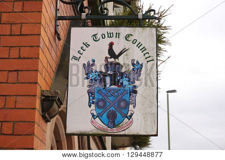 LEEK, UK - DECEMBER 31: A sign for Leek Town Council hangs outside local government offices in the small market town of Leek, in the Staffordshire Moorlands, England on December 31, 2015.