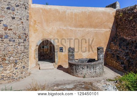 Castelo de Vide, Portugal - July 24, 2015: Entrance of the museum inside the Castelo de Vide Castle. Castelo de Vide, Portalegre, Alto Alentejo, Portugal.