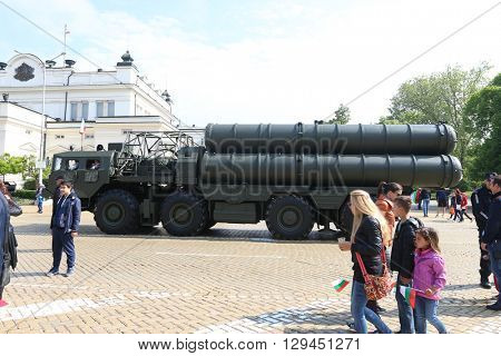 Sofia, Bulgaria - May 06: Day of Valor. Surface-to-air missile system c300 on military hardware parade. S300. On May 06, 2016 in Sofia Bulgaria.