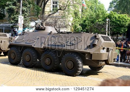 Sofia, Bulgaria - May 06: Day of Valor. Armoured personnel carriers BTR-60 PB MD1on military hardware parade. Back view. On May 06, 2016 in Sofia Bulgaria.
