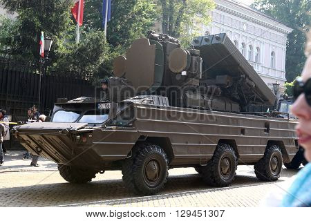 Sofia, Bulgaria - May 06: Day of Valor. Surface-to-air missile system 9K33 Osa AK on military hardware parade. On May 06, 2016 in Sofia Bulgaria.