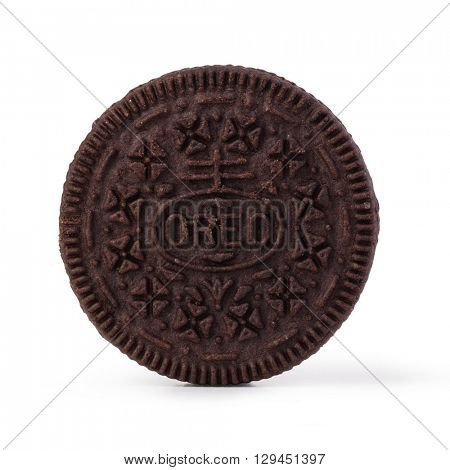 Moldova, March 17, 2016, Oreo brand, two chocolate disks with a chocolate cream. Iisolated on white background,
