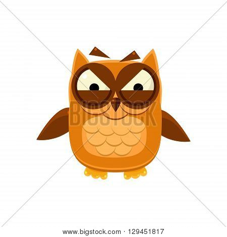Furious Brown Owl Adorable Emoji Flat Vector Caroon Style Isolated Icon