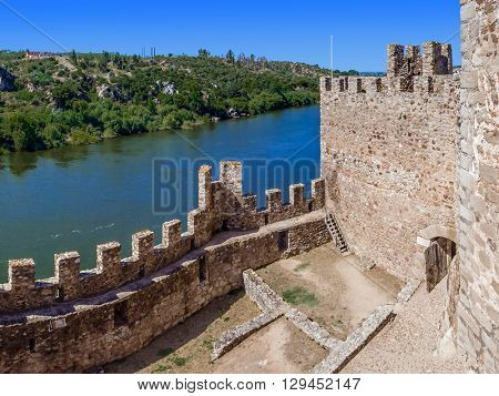 Almourol, Portugal - July 18, 2015: Interior of the Templar Castle of Almourol and Tagus river. One of the most famous castles in Portugal. Built on a rocky island in the middle of Tagus river.
