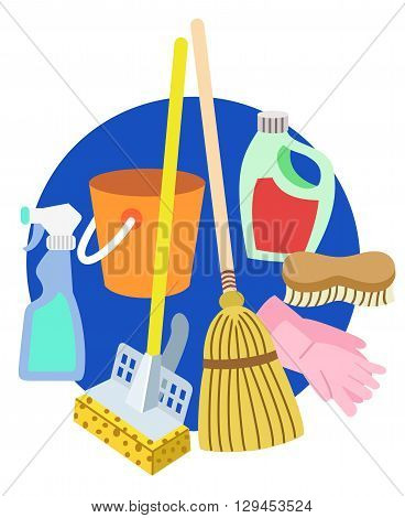 Implements of cleanliness, janitorial supplies and soap.