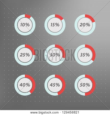 Infographics vector: 10% 15% 20% 25% 30% 35% 40% 45% 50% blue red and grey pie charts on dotted background