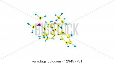 Acetylmethadol - INN or methadyl acetate is a synthetic opioid analgesic. 3d illustration