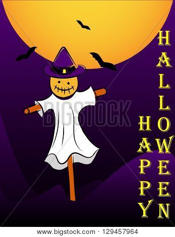 Scarecrow Halloween on the moon background with bats. vector