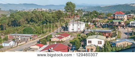 KNYSNA SOUTH AFRICA - MARCH 5 2016: Panorama of Sunridge a township in the northern part of Knysna showing several houses