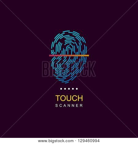 Fingerprint scanner. Vector fingerprint logo. Fingerprint icon. Fingerprint web logo. Fingerprint scanner logo. Personalization logo. ID logo. Fingerprint lock logo.