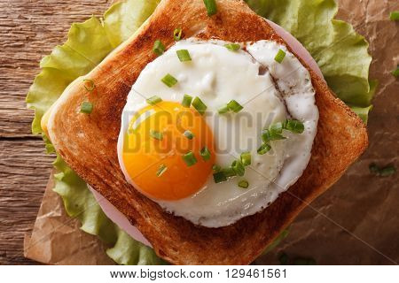 Sandwich With Fried Egg, Ham, Onions And Cheese Close Up. Horizontal Top View