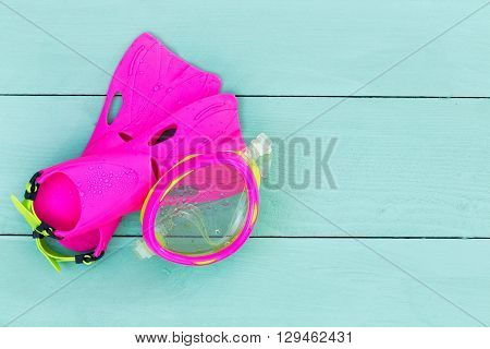 Colorful Vibrant Pink Kids Goggles And Flippers