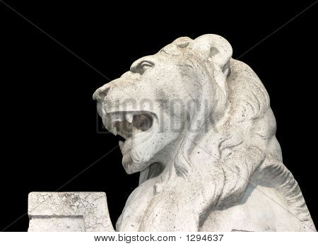 white lion on a statue near vajdahunyad castle in budapest hungary. poster
